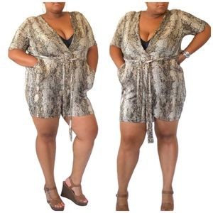 Plus Size Snake Print Romper with Pockets